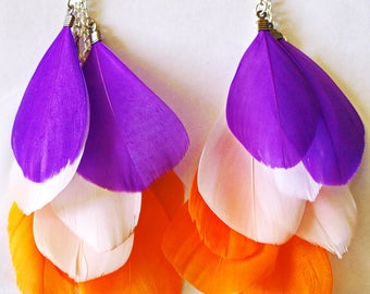 New! Cute Purple White Orange Feather Bright Summer Party Earrings