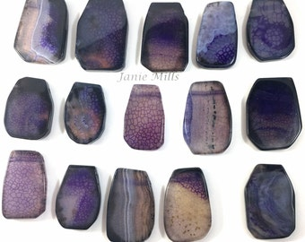 Agate Purple 4 pc. cabochons with holes