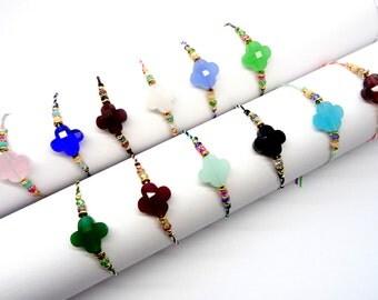 Minimalist clover bracelet, wish clover bracelet, friendship bracelet, string bracelet, dainty delicate bracelet, simple adjustable bracelet