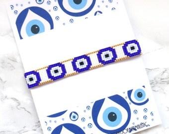 Evil eye peyote bracelet, blue evil eye bracelet, evil eye jewelry, beaded tassel bracelet, eyes bracelet, wish bracelet, protection jewelry
