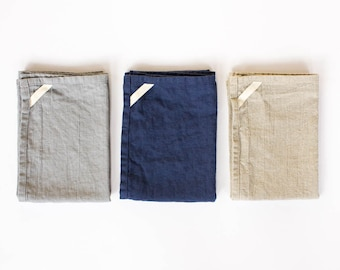 two linen tea towels / kitchen towel / hand towel / great for travel / grey