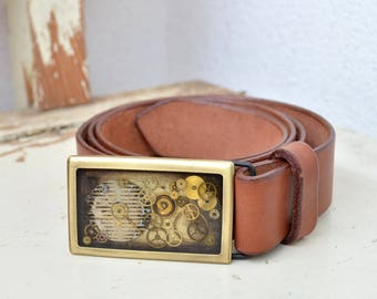 Brown Leather Belt/ Square Buckle/ Leather Belt/ watch Buckle/ Steampunk/ Unique Belt buckle/ Steampunk Belt Buckle/ Leather/ Bronze/ clock