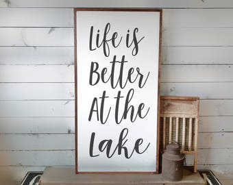 Life is Better at the Lake Sign, Lake House Sign, Lake Decor, White Lake Sign, Wood Lake Sign, Lake Sign, Wooden Sign, Lake House Decor PS1