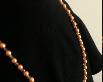 swarotski and pearls long necklace complete salmon bracelet