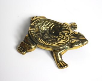 Vintage Brass Turtle Ashtray