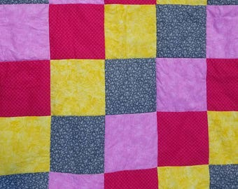SALE Pink and Yellow Baby Girl Blanket, Baby Quilt, Minky Blanket, Hearts and Flowers