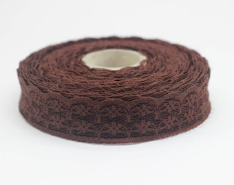 25 mm Brown Lace trim - Seam(0.98 inches) Binding hem tape chantilly lace trim for bridal, baby, lingerie, hair accessories  -