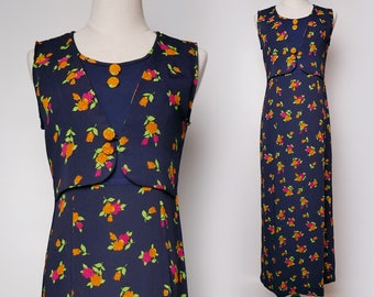 Navy Women Vintage Maxi Dress Orange Pink Flower Print Pleated Sleeveless Vest Style 1980s Size M