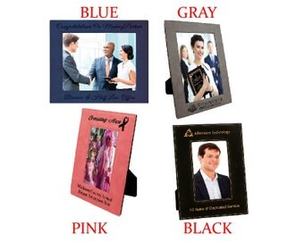 "Custom Engraved Leatherette Picture Frame 8"" by 10"", Multiple colors available"