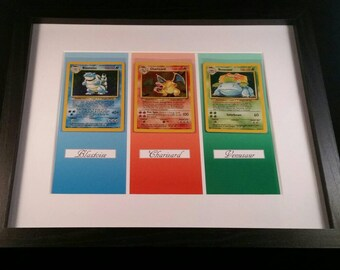 Framed Original Base Set 1 Pokemon Cards. Charizard, Blastoise And Venusaur In Near Mint Condition.