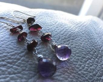 Garnet and Amethyst Drop Earrings
