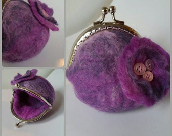 Purple marble effect wet felted coin purse