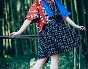 Red African printed short Kimono with cobalt blue colar