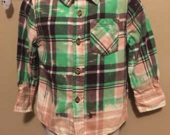 Lime green distressed, bleached flanel shirt with Regan from the Exorcist patch!