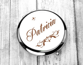 Personalized Pocket Mirror, Engraved Compact Mirror, Monogrammed Mirror, Wedding Gift, Mother of the Bride, Mother of the Groom,Purse Mirror