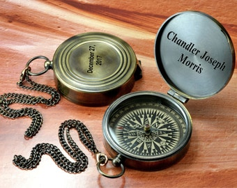 Personalized Compass, Engraved Working Compass, Fathers Day Gift, Vintage Style Gift, Christmas Gift, Groomsmen Gift, Valentines Day Gift