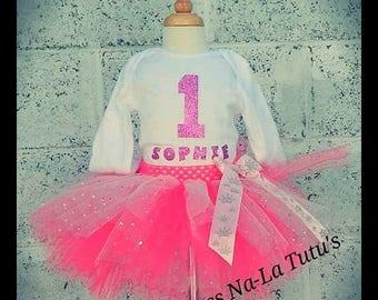 First Birthday Outfit - Pink tutu set - Bodysuit 1st Birthday - Pink tutu skirt