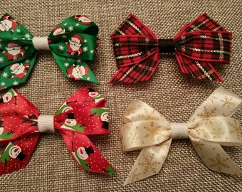 "3"" Holiday Hair Bows: Santa, Snowmen, Snowflakes, Christmas Plaid"