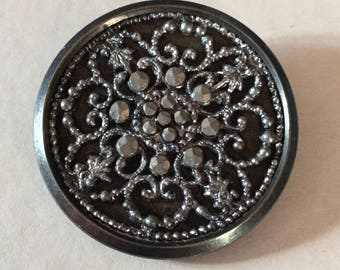 Ornate Snowflake Large Mixed Metal Antique Button Old
