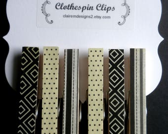 Black and Creme Pattern Clothespin Clips Set of Six Assorted