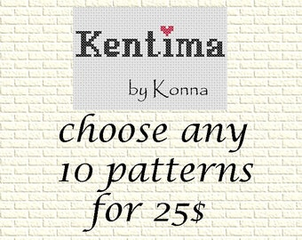 SALE - Cross Stitch Patterns Special Offer - Choose any 10 Patterns for 25 US dollars  - special deal - patterns bundle