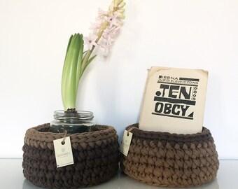 Set di 2 cestini MARRONE all'uncinetto   crochet baskets   crochet bowls