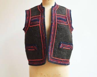 Vintage romanian hungarian folk hippie boho vest jacket S/M