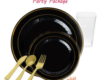 Silver Splendor Collection VALUE Party Package - Black with Gold Plastic Table Settings