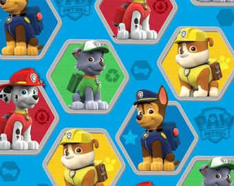 Blue Paw Patrol Rescue Fleece licensed Nick Jr - nickelodeon anti-pill polyester fleece kids juvenile by the yard  metre spinmaster