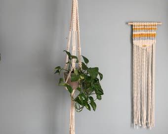 Macrame Plant Hanger // Handmade Plant Hanger // Natural Cotton Square Knot Design
