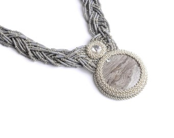 Grey silver statement necklace Multilayered necklace Silver gemstone necklace Beadwork necklace Jasper necklace Long crystal beaded necklace