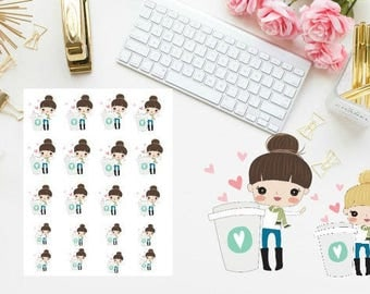 coffee love girl planner stickers