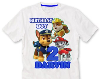 Any Name birthday girl or boy, Paw patrol Birthday Shirt iron on transfer, printable file only, Pup Paw patrol shirt, birthday boy or Girl