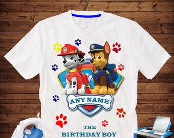 Any name, Paw patrol Birthday Shirt iron on transfer, printable file only, Skye and Everest, Any name  the birthday boy