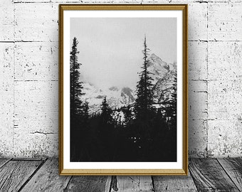 Mountain Forest Print, Nature Photo, Trees Print, Forest Poster, Black And White, Home Decor, Nursery Print, Nature Print