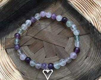 Sterling Silver Heart Fluorite Bracelet