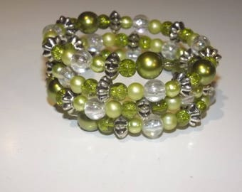 Bracelet of acrylic beads and glass beads  on memory wire, 3 wrap, Green, clear and silver