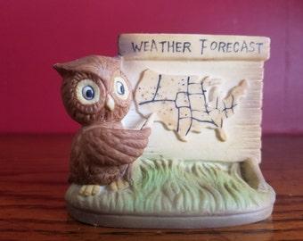 Owl Figurine, Weather Forecast- vintage