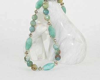 Amazonite necklace, Multi-colour amazonite, Faceted amazonite, Tibetan silver, Semi-precious stone jewelry, Gemstone jewelry