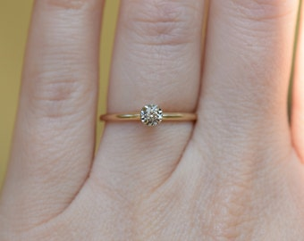 10 Karat Yellow Gold Dainty Solitaire Diamond Engagement Ring, US Size 6.0, Used Vintage Jewelry