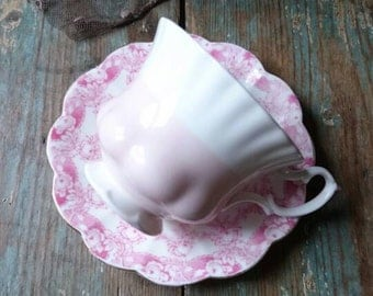 Vintage Victorian teacup and saucer. c1898. R H and S L Plant. Mismatched teacup and saucer. Pretty pink teacup. Vintage tea party.
