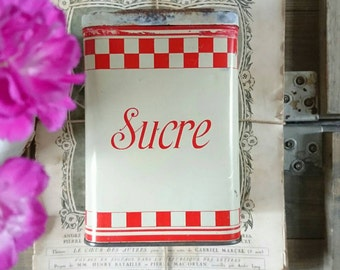 Vintage French rustic Sugar canister. French tin. Vintage storage. Red and White check. Coni-banan sucre tin. Distressed tin box.