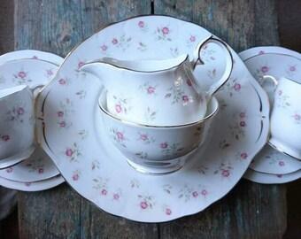 Vintage tea set for six. Gorgeous dainty rose china. Duchess tea set. Tea party. Garden party. Tea set. Gifts for her.