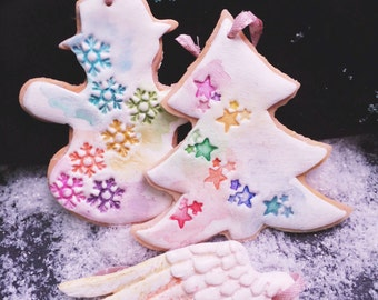 Set of 6 christmas tree ornaments, custom ornaments, christmas decor, personalized ornaments, christmas gift, christmas cookie ornaments