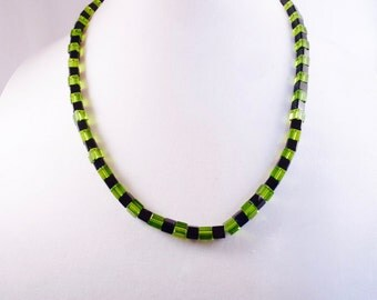 Green and Black Squares Necklace, Earrings & Bracelet