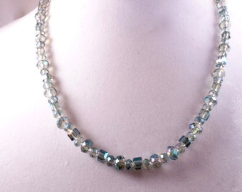 Iridescent Clear Crystal Necklace & Earrings
