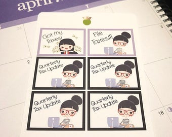 Taxes Girl Planner Stickers