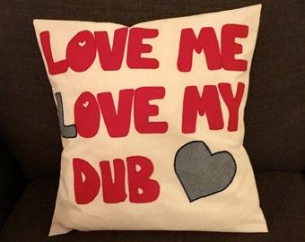Love me love my Dub, camper van gift,  camper van cushion, love cushion, VW gift , Home decor, Embroidered pillow, Shabby Chic