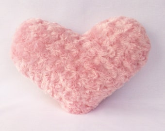 """Decorative Heart Pillow 11x13"""" and 13x15"""" Faux Fur Pretty N Pink"""
