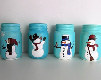 Hand-Painted Snowman themed pint  jars, Pick 2, Mix and Match with other listings!